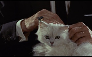 Even supervillains love fluffy kitties. (Or are cats the real leaders of supervillain lairs?)